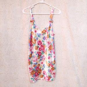 Vintage Floral Satin Nightie Chemise Slip Size Med